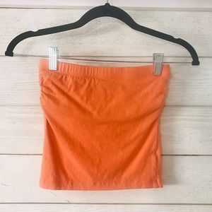 ✨Like New✨ Coral Strapless Tube Long Crop Top💖